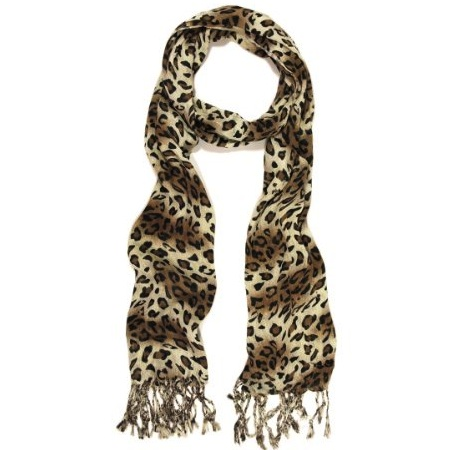 Leopard Animal Print Scarf with Fringe